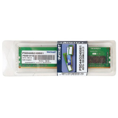 Оперативная память  Patriot DDR4 DIMM 4GB PSD44G240081 PC4-19200, 2400MHz