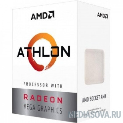 Процессор CPU AMD Athlon 200GE BOX 3.2 GHz/2core/1+4Mb/SVGA RADEON Vega 3/35W/Socket AM4