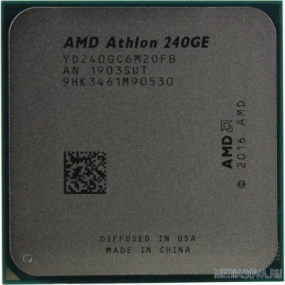Процессор CPU AMD Athlon 240GE AM4 OEM 3.5 GHz/2core/1+4Mb/SVGA RADEON Vega 3/35W/Socket AM4