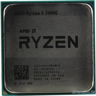Процессор CPU AMD Ryzen 5 3400G OEM 3.7GHz up to 4.2GHz/4x512Kb+4Mb, 4C/8T, Picasso, 12nm, 65W, Radeon Vega 11 1400MHz, unlocked, AM4