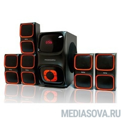 Dialog Progressive AP-555 BLACK акустические колонки 5.1, 40W+5*12W RMS, USB+SD reader