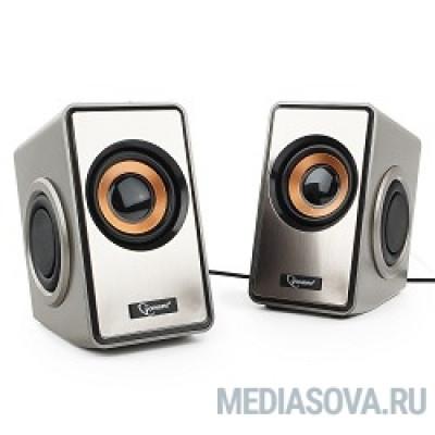 Акустич. система 2.0 Gembird SPK-400, пассивные излучатели, серебристый, 6 Вт, регулятор громкости,