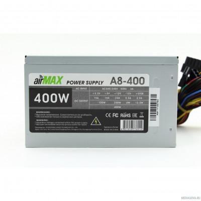 Блок питания AirMax A8-400W Блок питания 400W ATX (24+4+6пин, 80mm (SCP)\(OVP)\(OCP)\(UVP)\ATX 12V v.2.3)