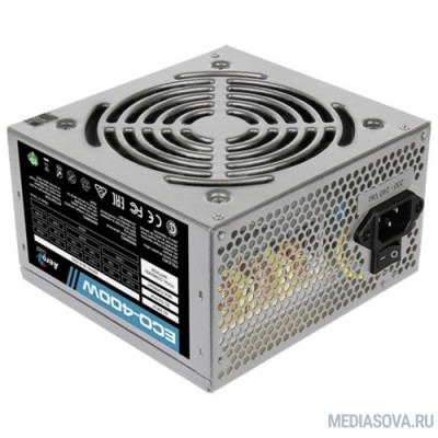 Блок питания Aerocool 400W Retail ECO-400W ATX v2.3 Haswell, fan 12cm, 400mm cable, power cord, 20+4P, 12V 4P, 1x PCI-E 6P, 2x SATA, 2x PATA, 1x FDD