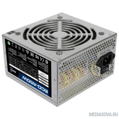 Блок питания Aerocool 450W Retail ECO-450W ATX v2.3 Haswell, fan 12cm, 400mm cable, power cord, 20+4P, 12V 4P, 1x PCI-E 6P, 2x SATA, 2x PATA, 1x FDD