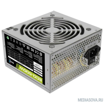 Блок питания Aerocool 500W Retail ECO-500W ATX v2.3 Haswell, fan 12cm, 400mm cable, power cord, 20+4P, 12V 4P, 1x PCI-E 6P, 3x SATA, 2x PATA, 1x FDD