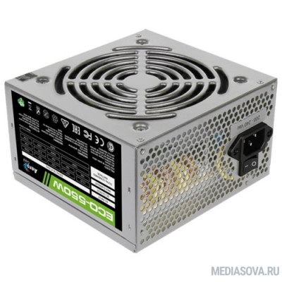 Блок питания Aerocool 550W Retail ECO-550W ATX v2.3 Haswell, fan 12cm, 400mm cable, power cord, 20+4P, 12V 4+4P, 1x PCI-E 6+2P, 4x SATA, 3x PATA, 1x F