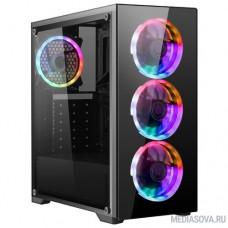Ginzzu S600 FAN 12CM RGB*4  1*USB 3.0,2*USB 2.0,AU Full Acrylic  w/o PSU