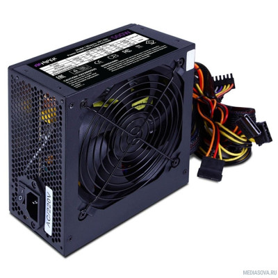 Блок питания HIPER Блок питания HPT-500 (ATX 2.31, peak 500W, Passive PFC, 120mm fan, power cord, черный) OEM