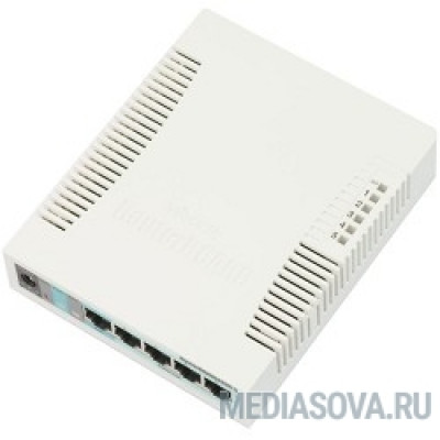 MikroTik RB260GS (CSS106-5G-1S) Коммутатор RouterBOARD 260GS 5-port Gigabit smart switch with SFP cage, SwOS, plastic case, PSU