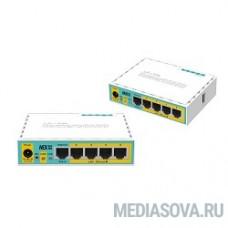MikroTik RB750UPr2 hEX PoE lite 5-портовый 100-Мбитный маршрутизатор с поддержкой PoE на 4-х портах 5x Ethernet, раздача PoE, 650 МГц ЦП, 64 МБ