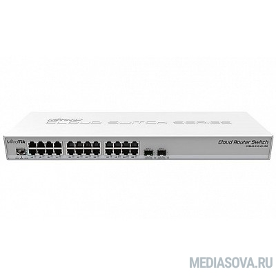 MikroTik CRS326-24G-2S+RM Коммутатор Cloud Router Switch 326-24G-2S+RM with RouterOS L5, 1U rackmount enclosure