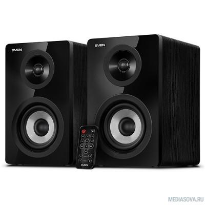 SVEN SPS-750, чёрный акустическая система 2.0, мощность 2х25Вт (RMS), пульт ДУ, Bluetooth, Optical