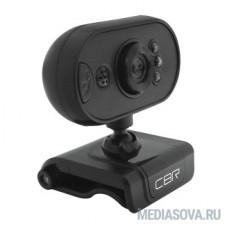 CBR CW 836M Black, Веб-камера с матрицей 0,3 МП, разрешение видео 640х480, USB 2.0, встроенный микрофон, ручная фокусировка, крепление на мониторе, LED-подсветка, длина кабеля 1,6 м, цвет чёрный