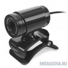 CBR CW 830M Black, Веб-камера с матрицей 0,3 МП, разрешение видео 640х480, USB 2.0, встроенный микрофон, ручная фокусировка, крепление на мониторе, длина кабеля 1,4 м, цвет чёрный