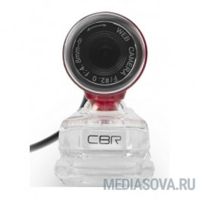 CBR CW 830M Red, Веб-камера с матрицей 0,3 МП, разрешение видео 640х480, USB 2.0, встроенный микрофон, ручная фокусировка, крепление на мониторе, длина кабеля 1,4 м, цвет красный