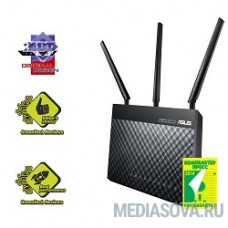 ASUS RT-AC68U AC1900 WiFi Router (WLAN 1.3Gbps, Dual-band 2.4GHz+5.1GHz, 802.11ac+4xLAN RG45 GBL+1xWAN GBL+1xUSB3.0+1xUSB2.0) 3x ext Antenna черный