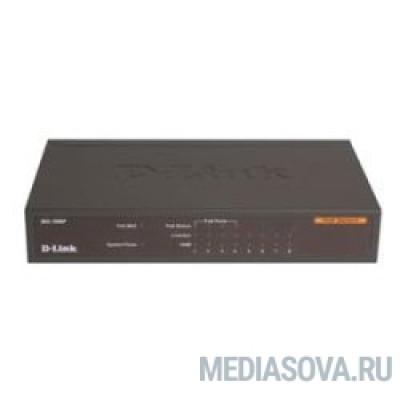 D-Link DES-1008P/C1A Неуправляемый коммутатор с 8 портами 10/100Base-TX (4 порта с поддержкой PoE 802.3af (15,4 Вт), PoE-бюджет 52 Вт)