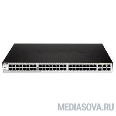D-Link DES-1210-52/C1A Настраиваемый коммутатор WebSmart с 48 портами 10/100Base-TX, 2 портами 10/100/1000Base-T, 2 комбо-портами 100/1000Base-T/SFP