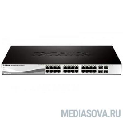 D-Link DGS-1210-28P/F1A Настраиваемый коммутатор WebSmart с 24 портами 10/100/1000Base-T и 4 комбо-портами 100/1000Base-T/SFP (24 порта с поддержкой PoE 802.3af/802.3at (30 Вт), PoE-бюджет 193 Вт)