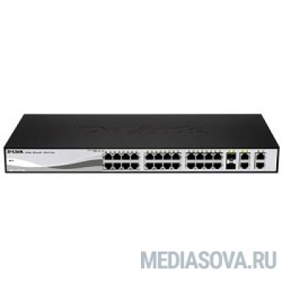 D-Link DES-1210-28P/C2A PROJ Настраиваемый коммутатор WebSmart с 24 портами 10/100Base-TX, 2 портами 10/100/1000Base-T, 2 комбо-портами 100/1000Base-T/SFP