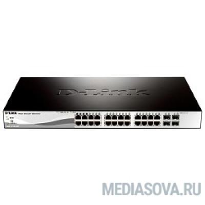 D-Link DGS-1210-28P/ME/A1A Управляемый коммутатор 2 уровня с 24 портами 10/100/1000Base-T с поддержкой PoE и 4 портами 1000Base-X SFP