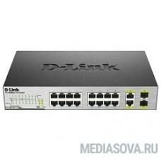 D-Link DES-1018P/A2A Неуправляемый коммутатор с 16 портами 10/100Base-TX, 2 комбо-портами 100/1000Base-T/SFP и функцией энергосбережения (8 портов с поддержкой PoE 802.3af (15,4 Вт), PoE-бюджет 80 Вт)