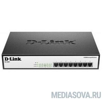 D-Link DES-1008P+/A1A Неуправляемый коммутатор с 8 портами 10/100Base-TX с поддержкой PoE 802.3af/802.3at (30 Вт), PoE-бюджет 140 Вт