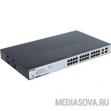 D-Link DGS-1026MP/A1A Неуправляемый коммутатор с 24 портами 10/100/1000Base-T, 2 комбо-портами 100/1000Base-T/SFP и функцией энергосбережения (24 порта с поддержкой PoE 802.3af/at (30 Вт))