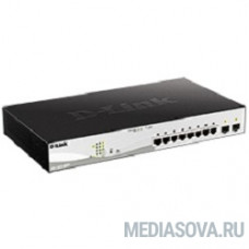 D-Link DGS-1210-10MP/F1A PROJ Настраиваемый коммутатор WebSmart с 8 портами 10/100/1000Base-T и 2 портами 1000Base-X SFP (8 портов с поддержкой PoE 802.3af/802.3at (30 Вт), PoE-бюджет 130 Вт)