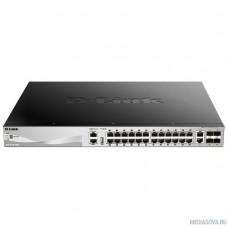D-Link DGS-3130-30PS/A1A PROJ Управляемый стекируемый1 коммутатор 3 уровня с 24 портами 10/100/1000Base-T, 2 портами 10GBase-T и 4 портами 10GBase-X SFP+ (24 порта с поддержкой PoE (30 Вт)
