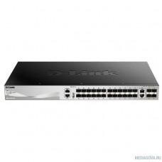 D-Link DGS-3130-30S/A1A PROJ Управляемый стекируемый1 коммутатор 3 уровня с 24 портами 1000Base-X SFP, 2 портами 10GBase-T и 4 портами 10GBase-X SFP+