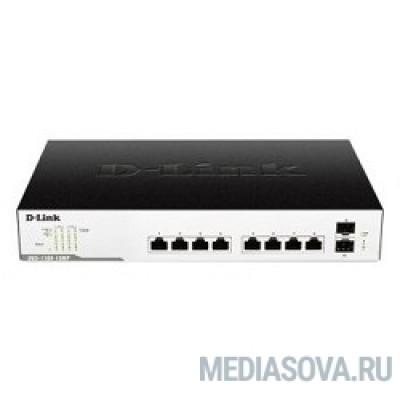 D-Link DGS-1100-10MP/C1A Настраиваемый коммутатор EasySmart с 8 портами 10/100/1000Base-T и 2 портами 1000Base-X SFP (8 портов с поддержкой PoE 802.3af/802.3at (30 Вт), PoE-бюджет 130 Вт)