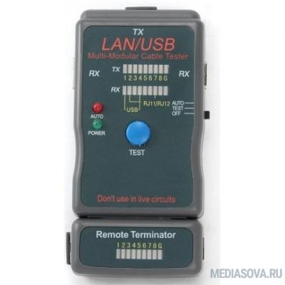 Gembird NCT-2 Тестер LAN Cablexpert , 100/1000 Base-TX,  для UTP, STP, RJ-11, USB-кабеля