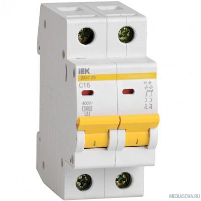 Iek MVA20-2-016-B Авт. выкл.ВА47-29 2Р 16А 4,5кА х-ка В ИЭК