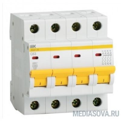 Iek MVA20-4-063-C Авт. выкл.ВА47-29 4Р 63А 4,5кА х-ка С ИЭК