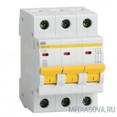 Iek MVA20-3-020-D Авт. выкл.ВА47-29 3Р 20А 4,5кА х-ка D ИЭК