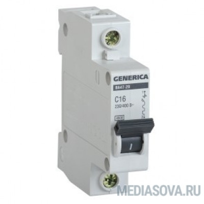 Iek MVA25-1-016-C Авт. выкл. ВА47-29 1Р 16А 4,5кА х-ка С GENERICA