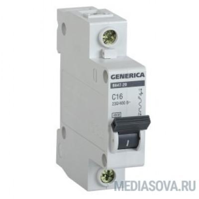 Iek MVA25-1-025-C Авт. выкл. ВА47-29 1Р 25А 4,5кА х-ка С GENERICA