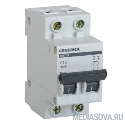 Iek MVA25-2-016-C Авт. выкл. ВА47-29 2Р 16А 4,5кА х-ка С GENERICA