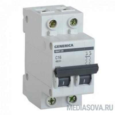 Iek MVA25-2-020-C Авт. выкл. ВА47-29 2Р 20А 4,5кА х-ка С GENERICA