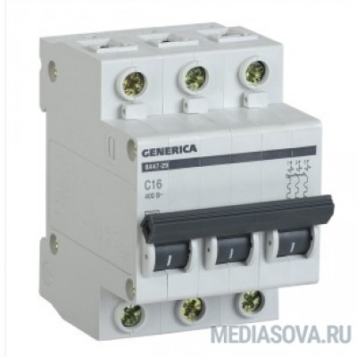 Iek MVA25-3-006-C Авт. выкл. ВА47-29 3Р 6А 4,5кА х-ка С GENERICA