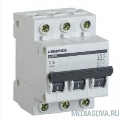 Iek MVA25-3-016-C Авт. выкл. ВА47-29 3Р 16А 4,5кА х-ка С GENERICA