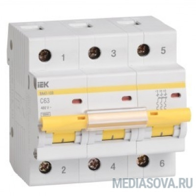 Iek MVA40-3-100-C Авт.выкл. ВА 47-100 3Р100А 10 кА  х-ка С ИЭК