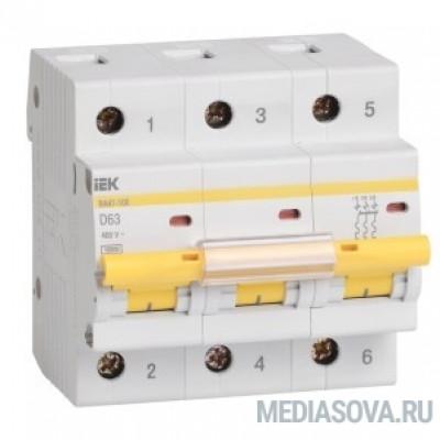 Iek MVA40-3-063-D Авт. выкл.ВА47-100 3Р 63А 10кА х-ка D ИЭК