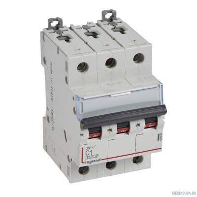 Legrand 407293 Автоматический выключатель DX3-E 6000 - 6 кА - тип характеристики C - 3П - 230/400 В~ - 25 А - 3 модуля