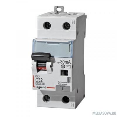 Legrand 411005 Автоматический выключатель дифференциального тока DX? 6000 - 10 кА - тип характеристики С - 1П+Н - 230 В~ - 32 А - тип  A С  - 30 мА - 2 модуля
