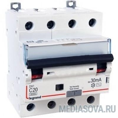 Legrand 411187 Автоматический выключатель дифференциального тока DX? 6000 - 10 кА - тип характеристики С - 4П - 400 В~ - 20 А - тип  A С  - 30 мА - 4 модуля