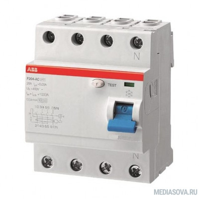 ABB 2CSF204001R3250 Выкл.диф.тока 4мод. F204 AC-25/0,3