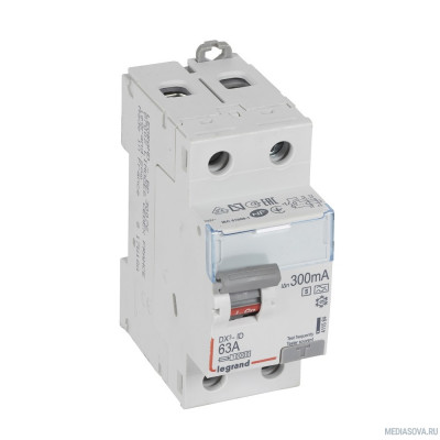 Legrand 411584 Выключатель дифференциального тока DX?-ID - 2П - 230 В~ - 63 А - тип A - 300 мА - селективный - 2 модуля